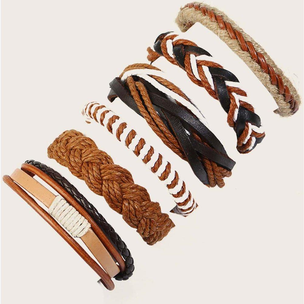 Pièces Bracelet à ficelle en cuir PU tressé - SHEIN - Modalova