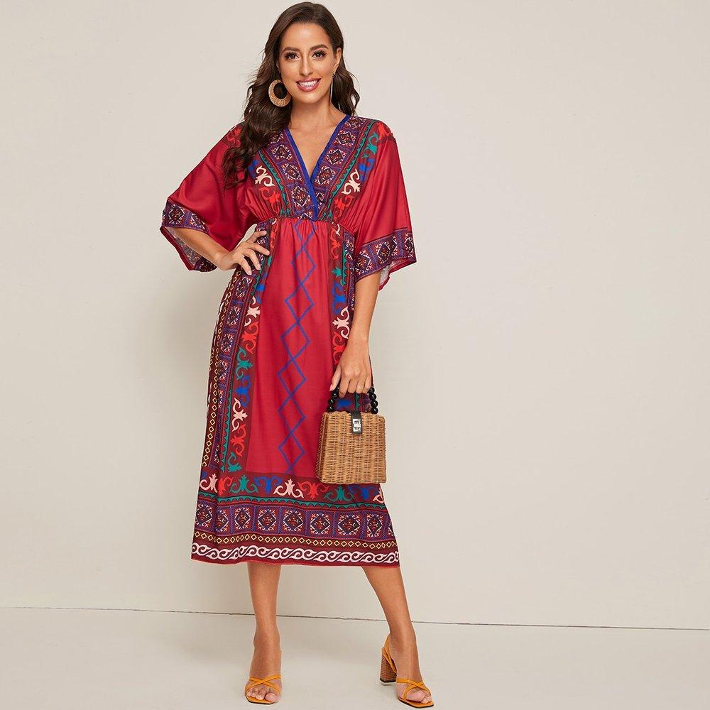 Robe trapèze avec imprimé - SHEIN - Modalova