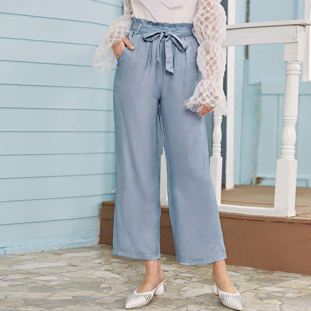 Pantalon ample à taille froncée avec nœud - SHEIN - Modalova