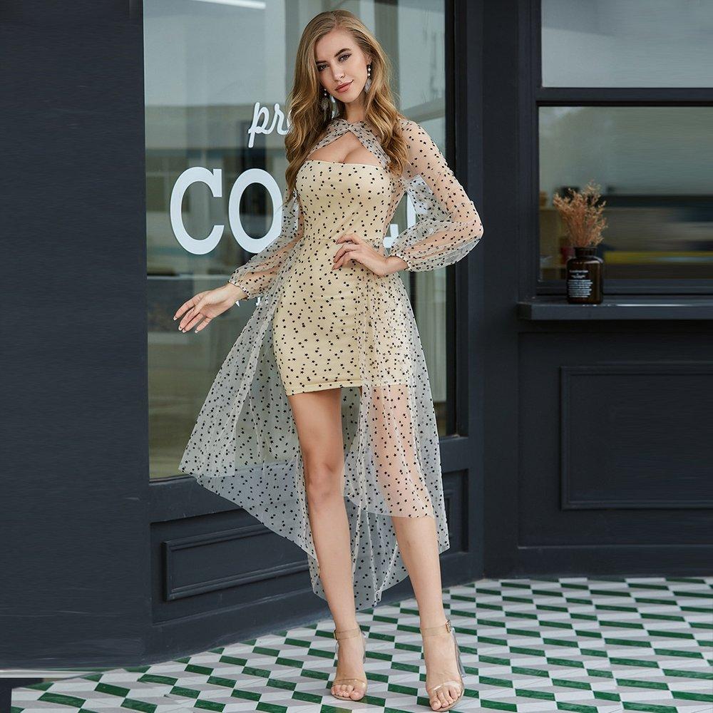 Double Crazy Robe asymétrique en tulle - SHEIN - Modalova