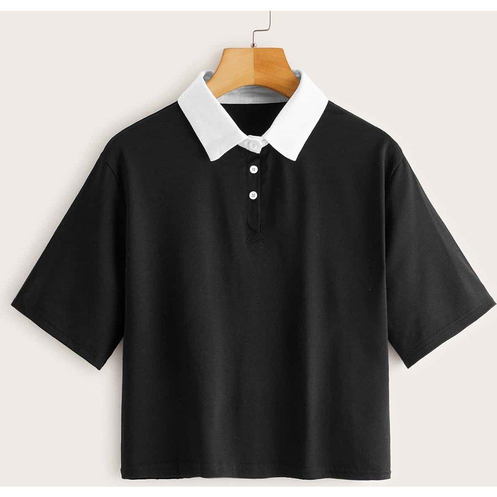 T-shirt avec col polo contrastant - SHEIN - Modalova
