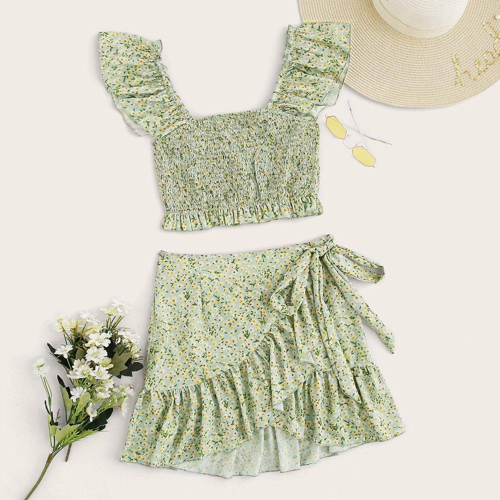 Ensemble jupe portefeuille avec nœud et top fleuri avec plis - SHEIN - Modalova