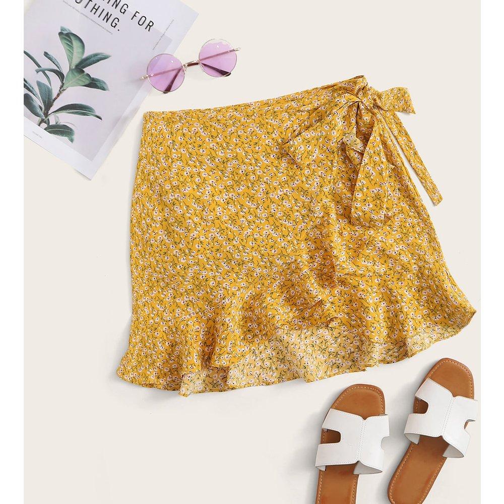 Jupe portefeuille fleurie avec nœuds - SHEIN - Modalova
