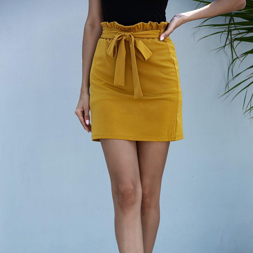 Jupe droite ceinturée avec taille froncée - SHEIN - Modalova