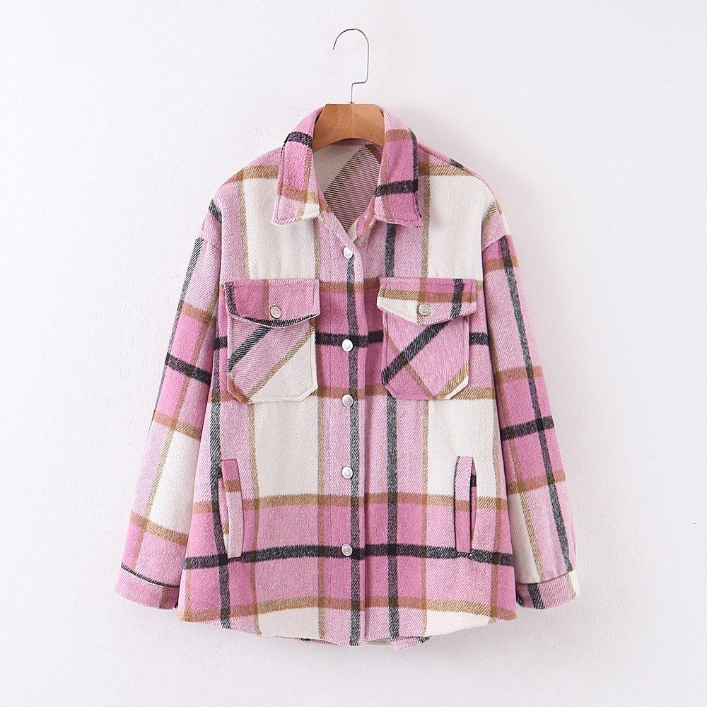 Manteau à carreaux avec boutons et poche - SHEIN - Modalova