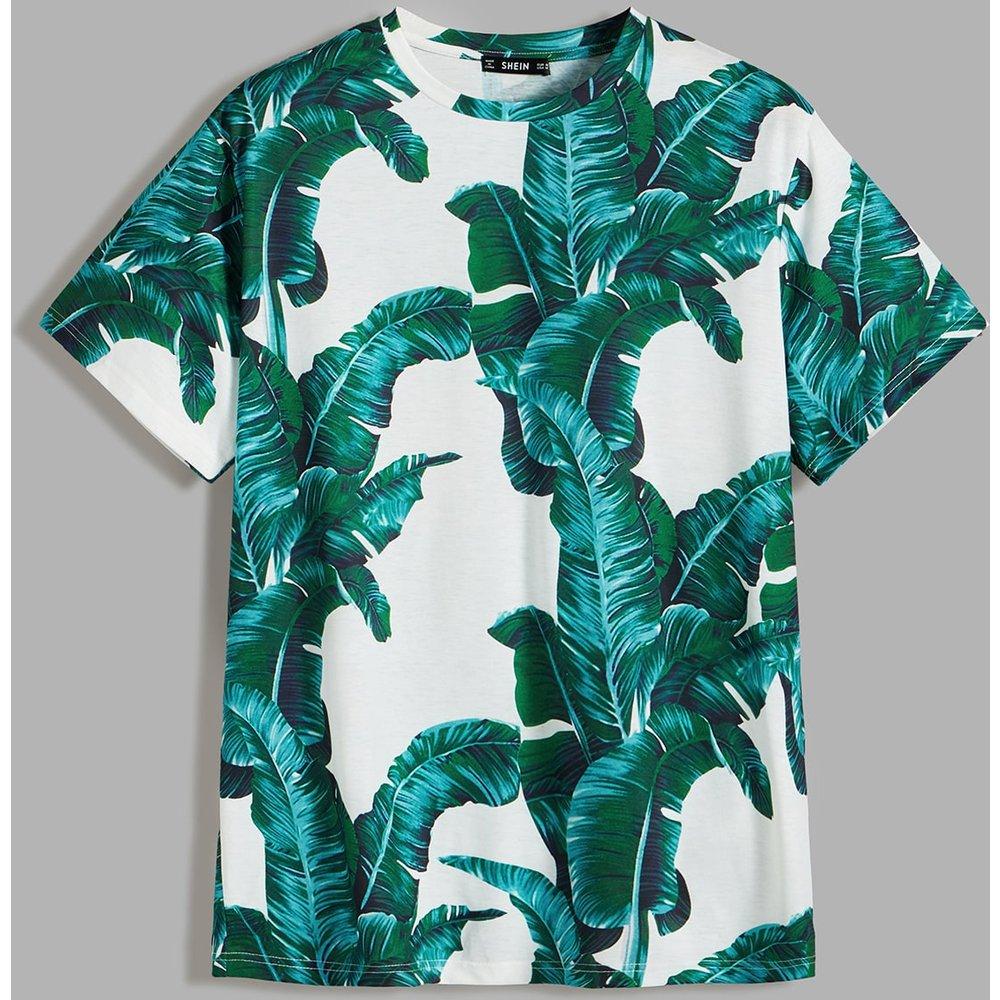 T-shirt à imprimé tropical - SHEIN - Modalova
