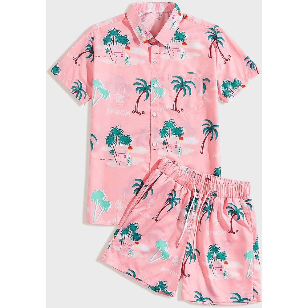 Ensemble short avec cordon à la taille et chemise à lettres et tropical - SHEIN - Modalova