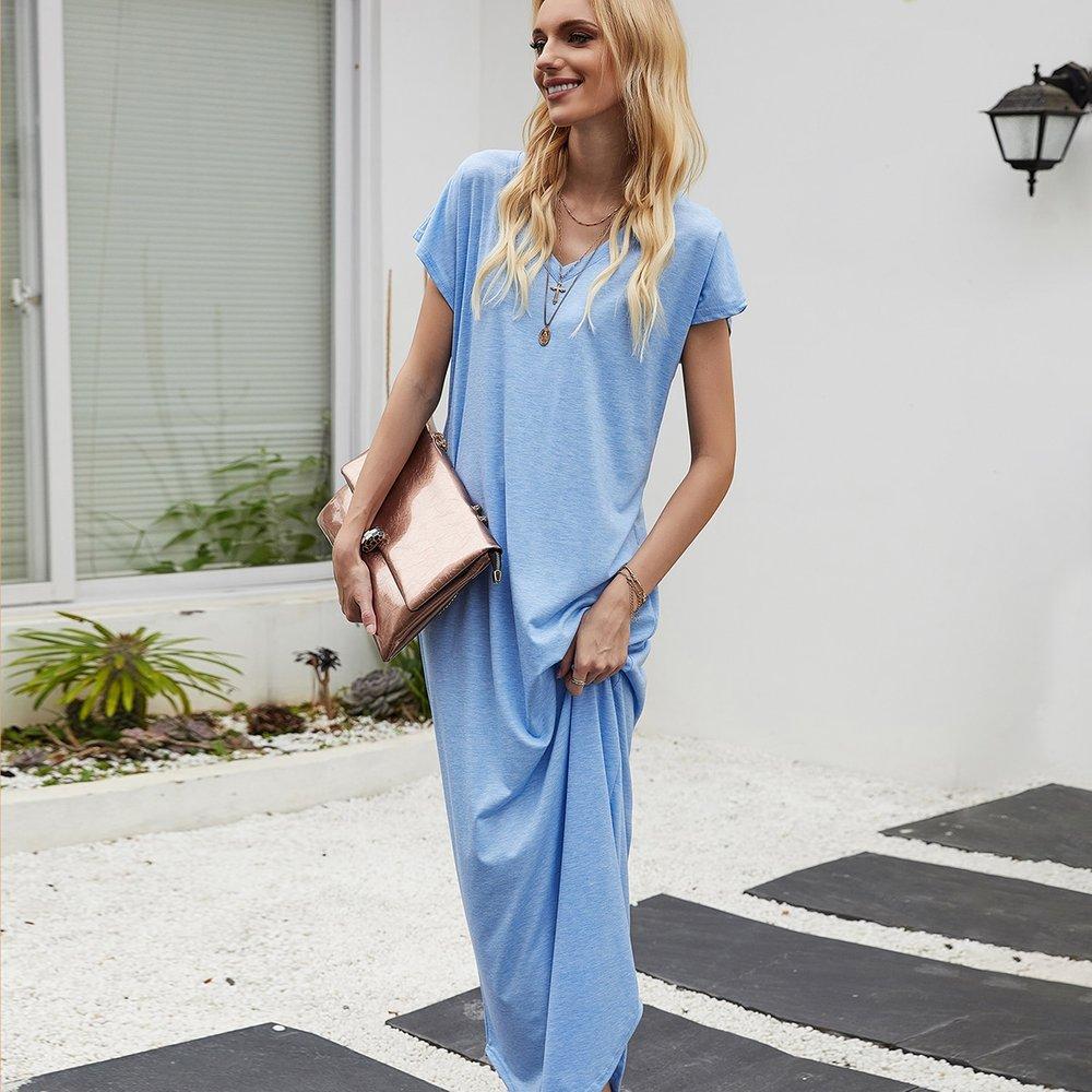 Robe t-shirt longue asymétrique - SHEIN - Modalova