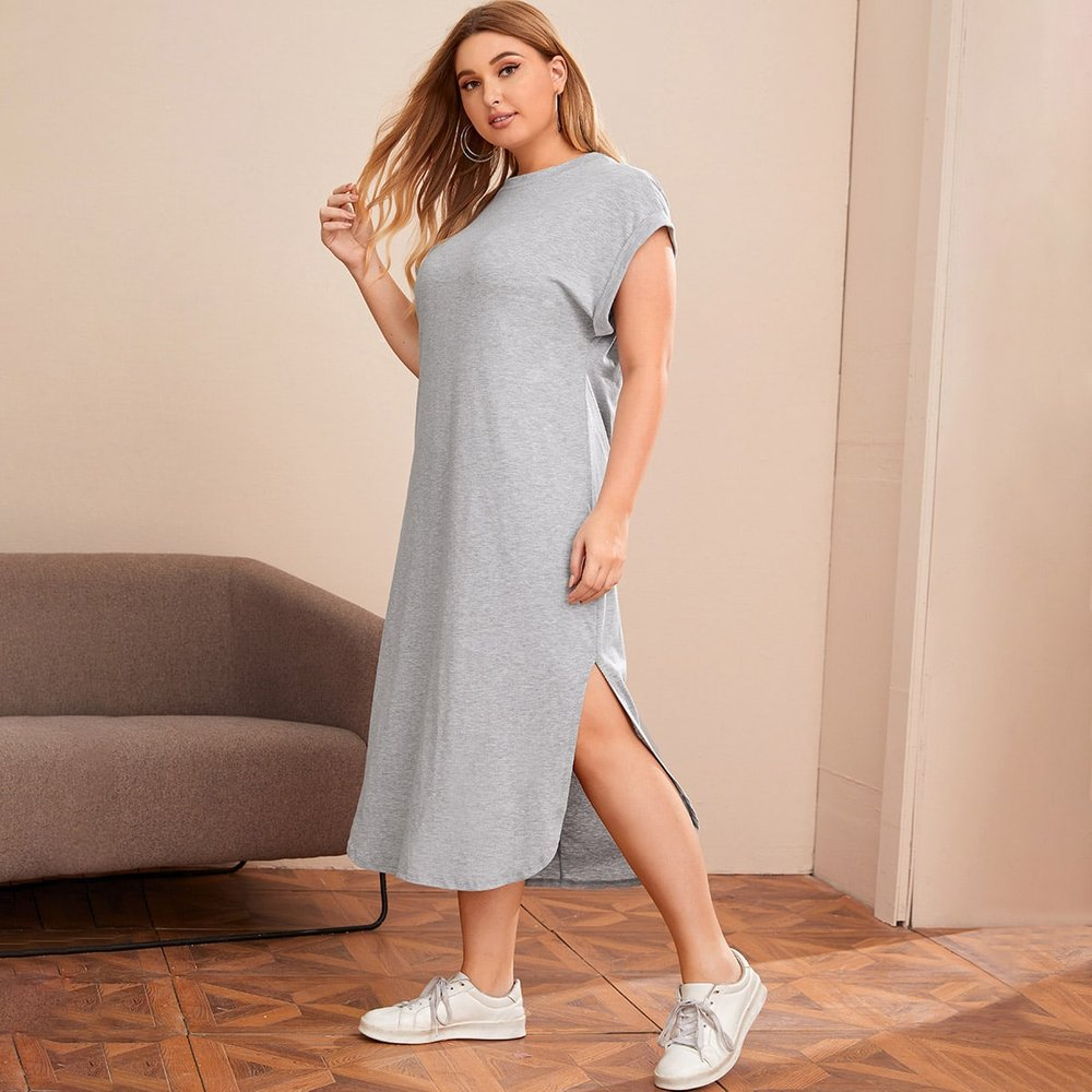 Robe t-shirt chinée - SHEIN - Modalova