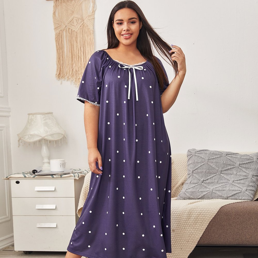 Robe de nuit à pois avec dentelle - SHEIN - Modalova