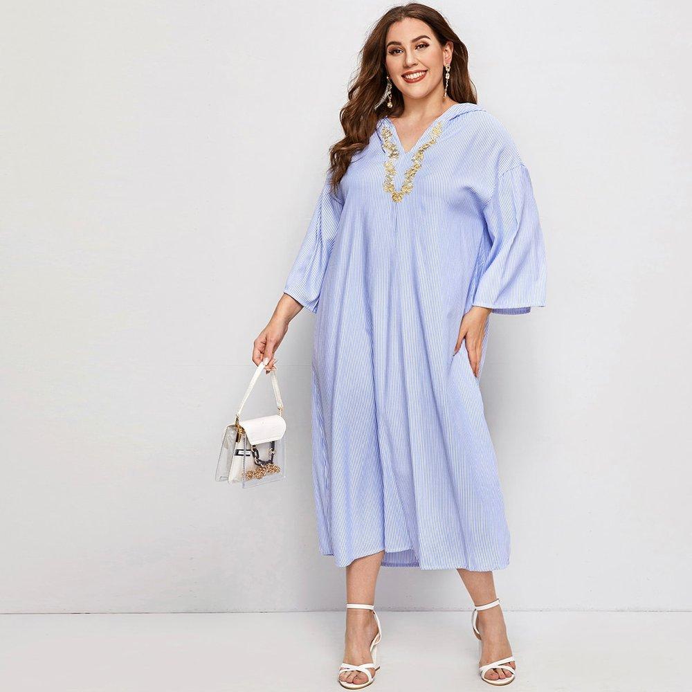 Robe à capuche rayée avec broderie - SHEIN - Modalova
