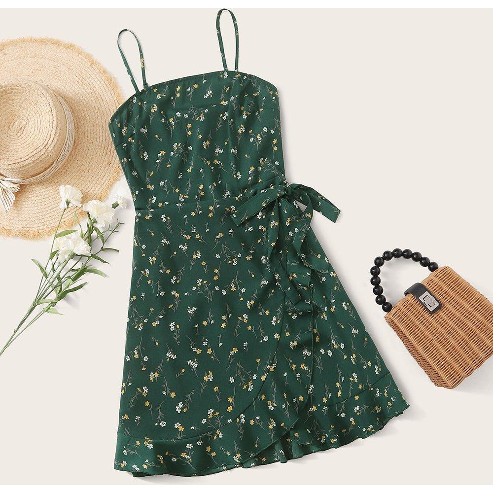 Robe portefeuille fleurie avec plis - SHEIN - Modalova