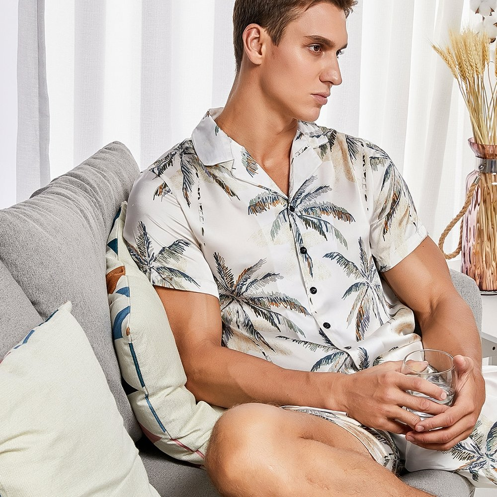 Ensemble de pyjama chemise & short à imprimé cocotier - SHEIN - Modalova