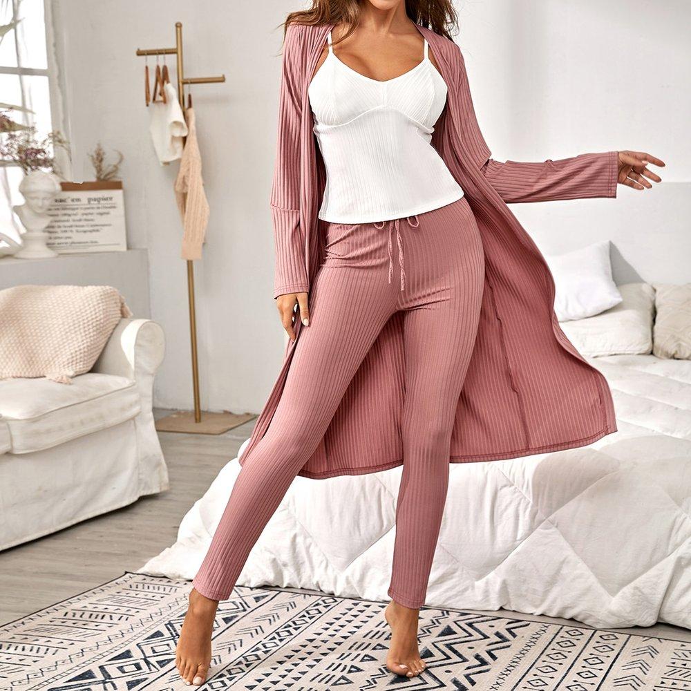 Robe de chambre côtelée & Top & Pantalon - SHEIN - Modalova