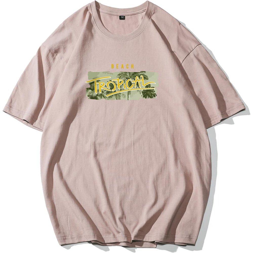T-shirt oversize à imprimé tropical - SHEIN - Modalova