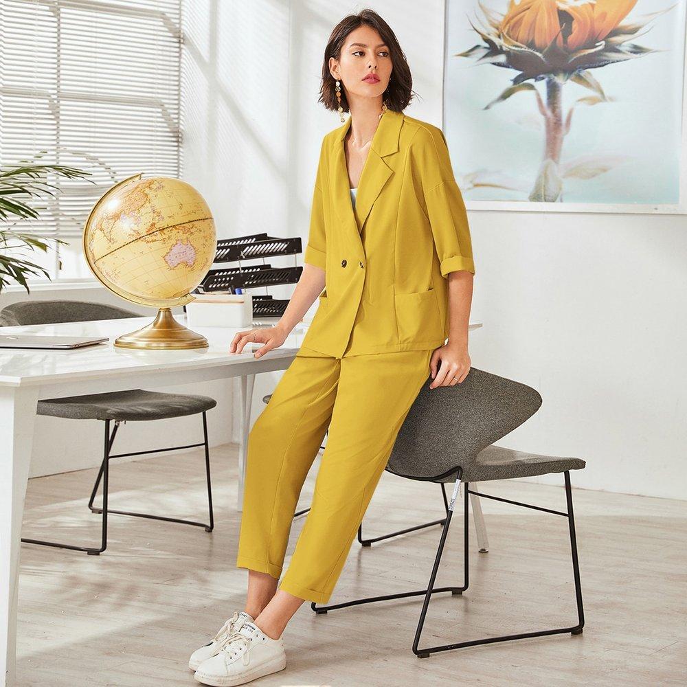Blazer avec poches & pantalon - SHEIN - Modalova