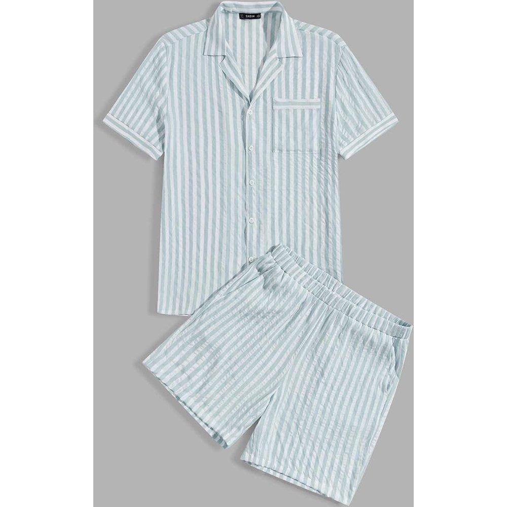 Ensemble de pyjama rayé avec poche - SHEIN - Modalova