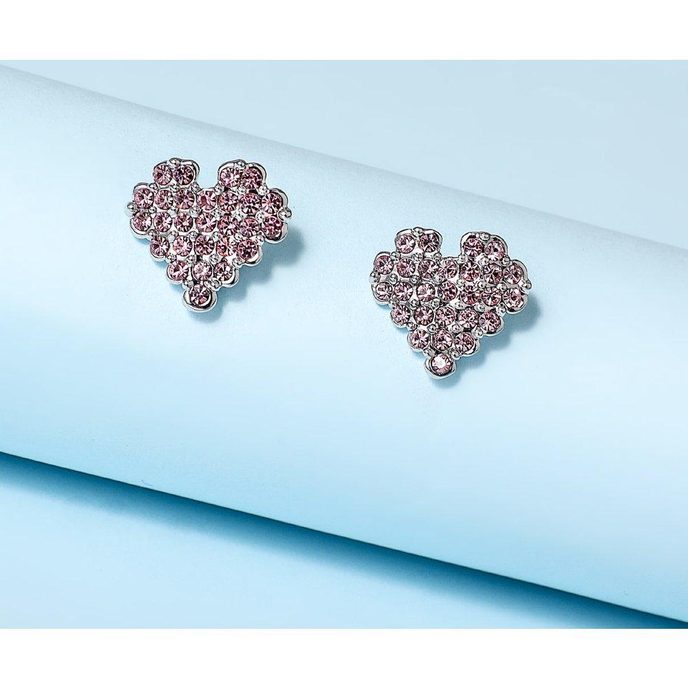 Boucles d'oreilles coeur strass - SHEIN - Modalova