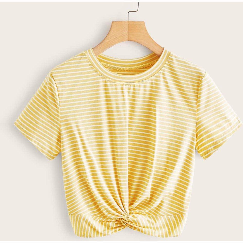T-shirt col rond rayé - SHEIN - Modalova