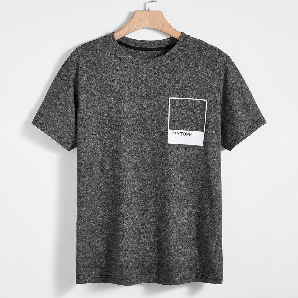 T-shirt chiné à imprimé - SHEIN - Modalova