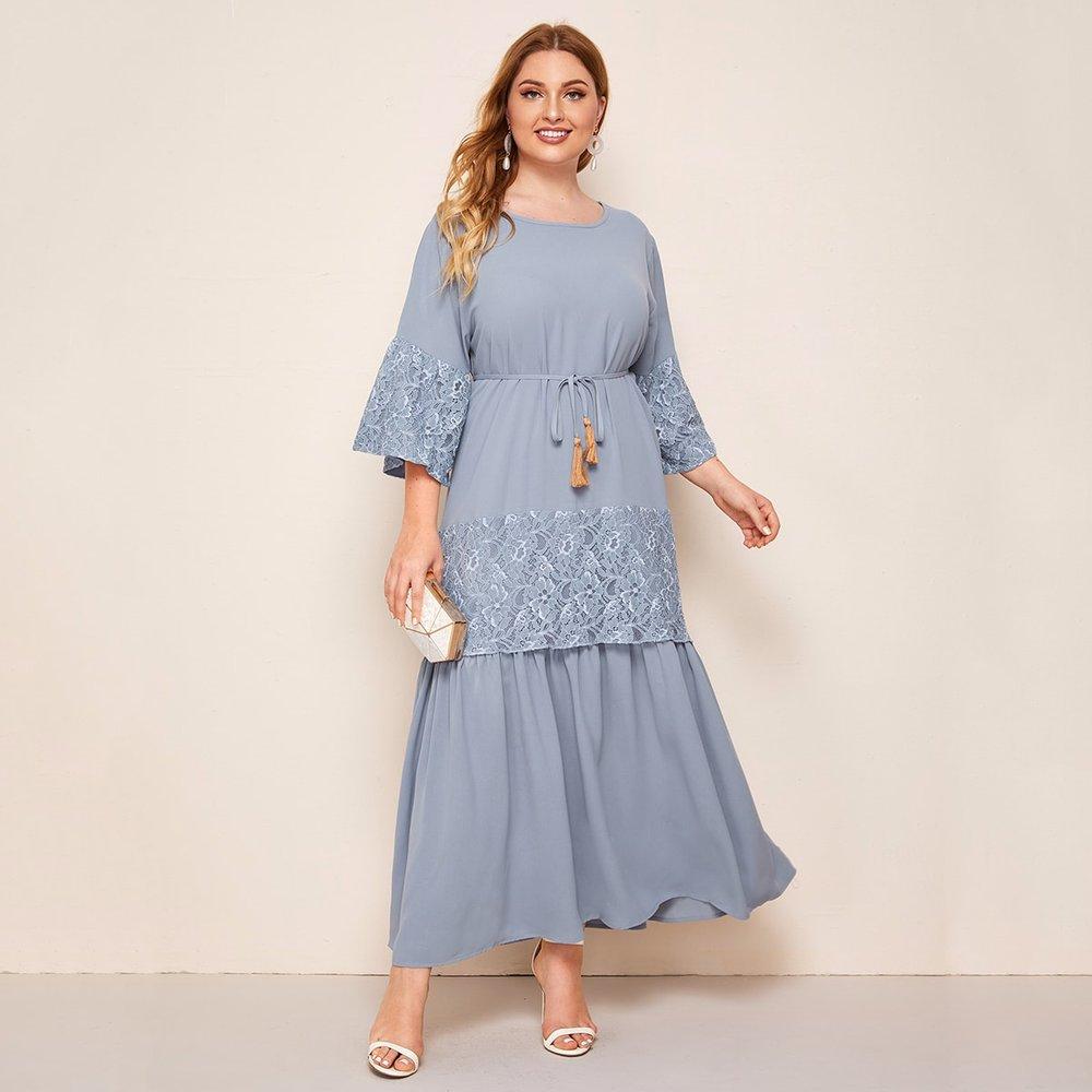 Robe longue avec dentelle et franges - SHEIN - Modalova