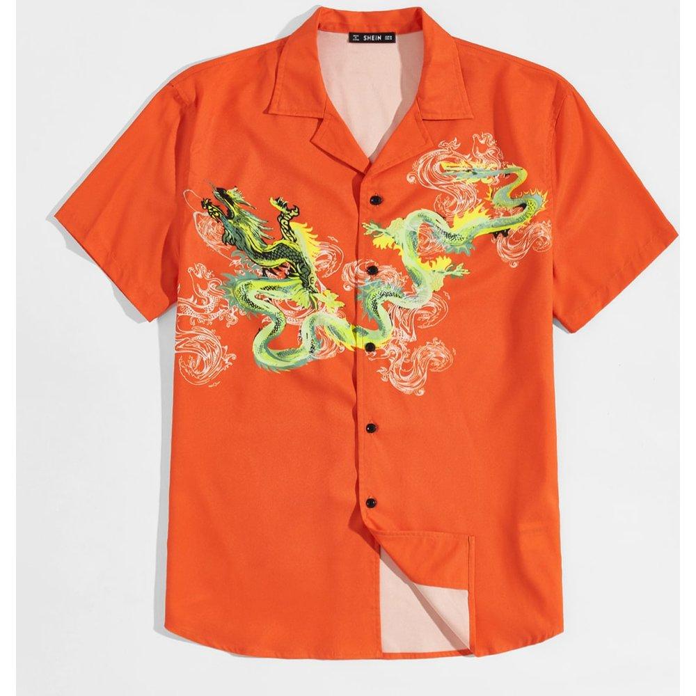 Chemise à imprimé dragon - SHEIN - Modalova