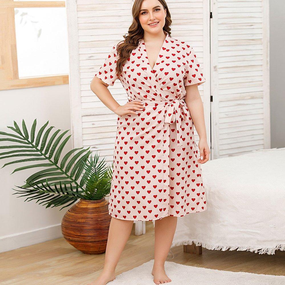 Robe de chambre ceinturée à imprimé cœur - SHEIN - Modalova