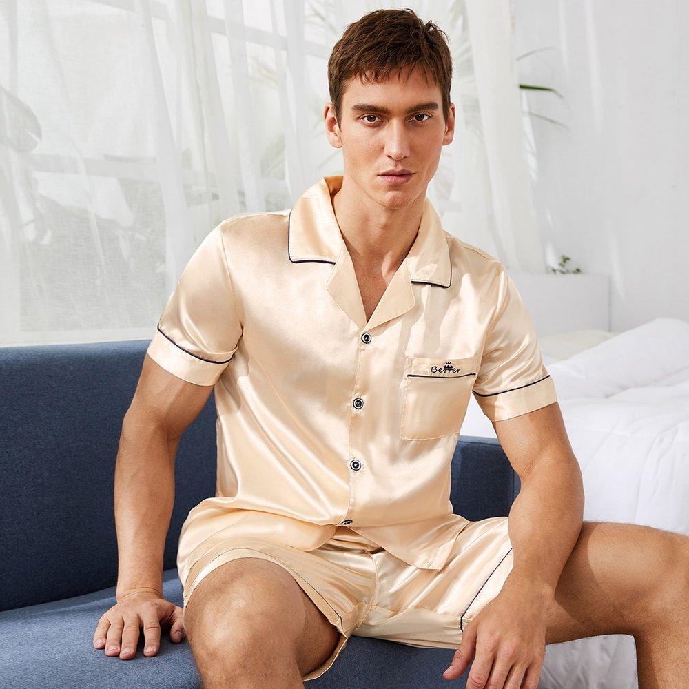 Ensemble de pyjama en satin avec broderie - SHEIN - Modalova