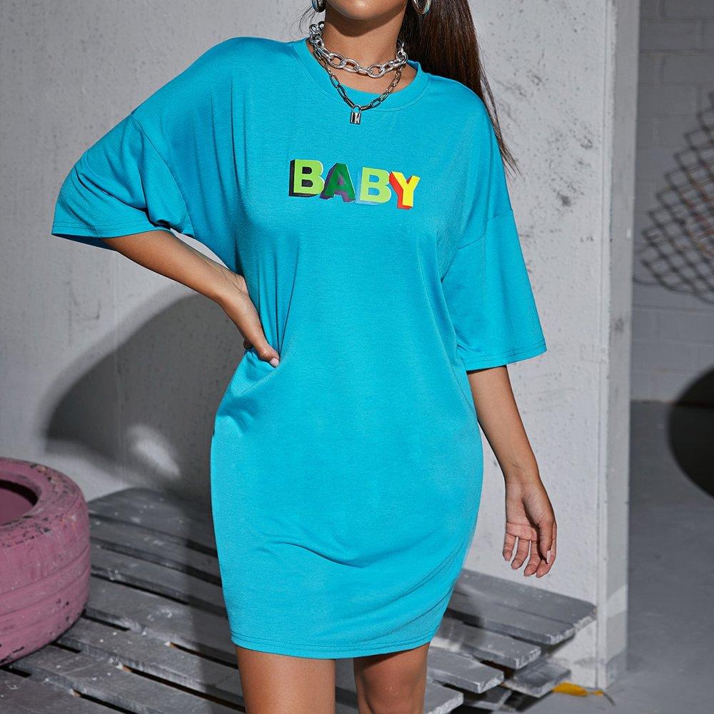 Robe t-shirt à lettres - SHEIN - Modalova