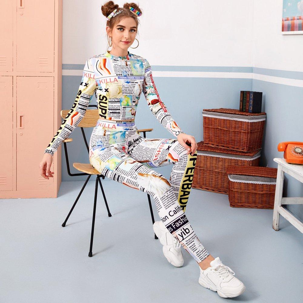Ensemble legging et top à imprimé avec col montant - SHEIN - Modalova