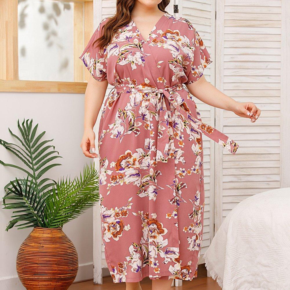 Robe de chambre longue ceinturée fleurie - SHEIN - Modalova