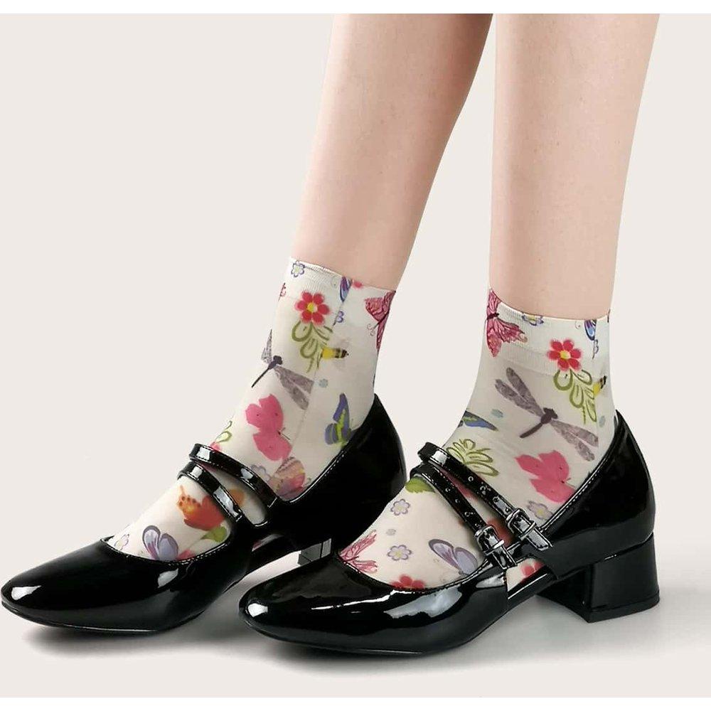 Chaussettes à motif fleurs - SHEIN - Modalova