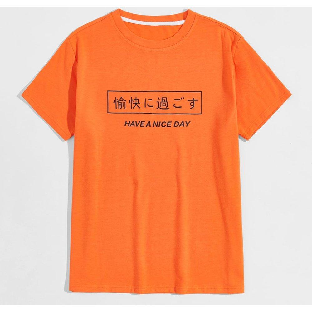 T-shirt à motif slogan - SHEIN - Modalova