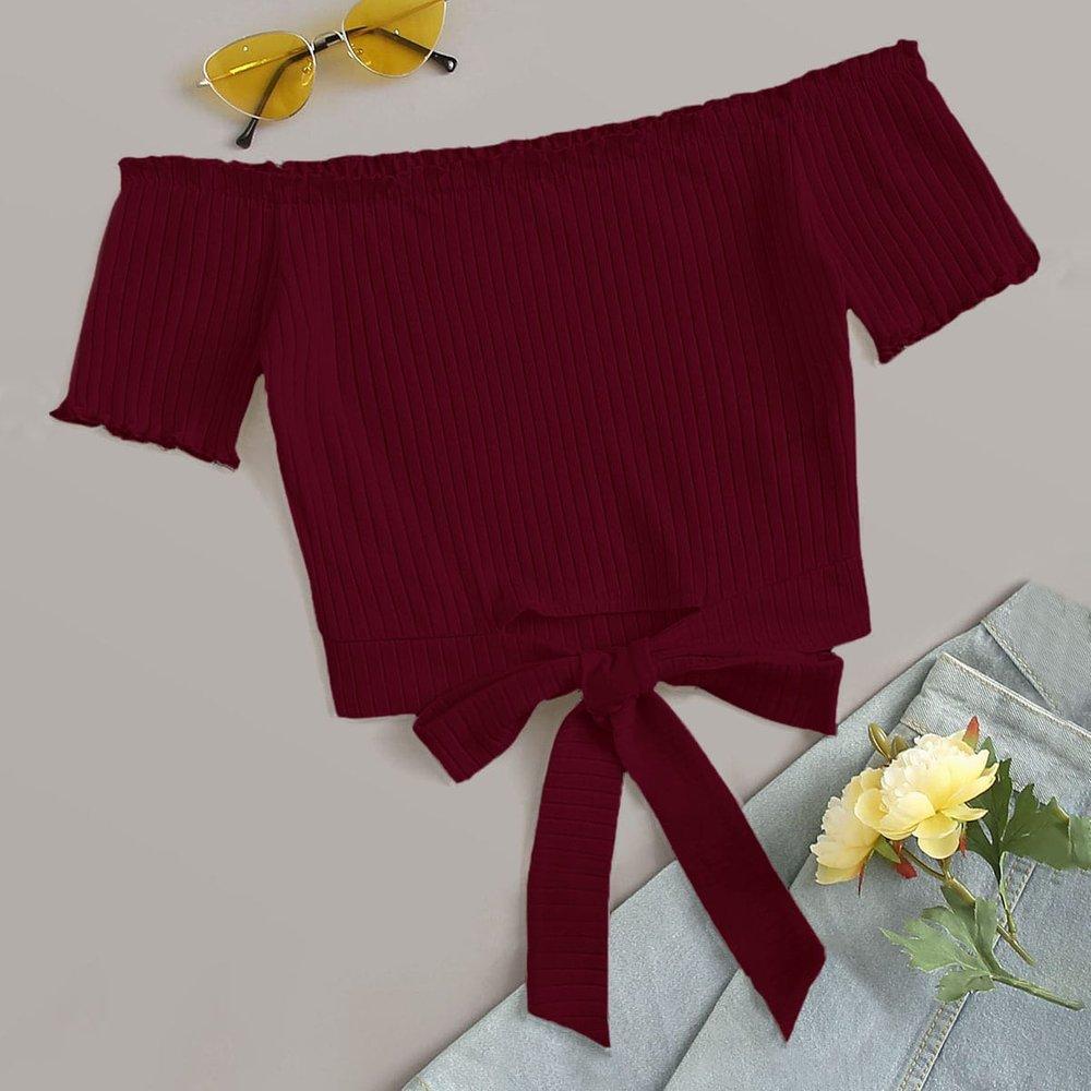 Top côtelé à épaules dénudées - SHEIN - Modalova