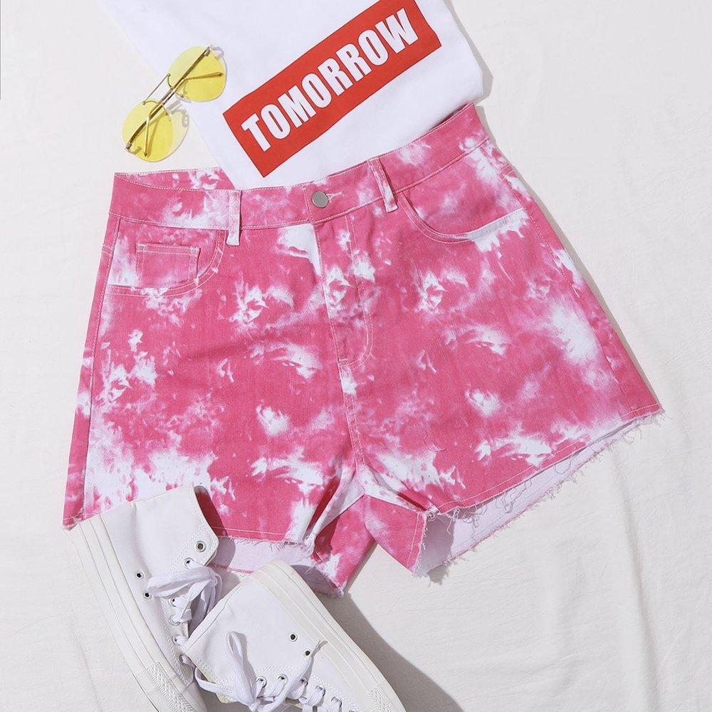 Short en jean tie dye avec poches - SHEIN - Modalova
