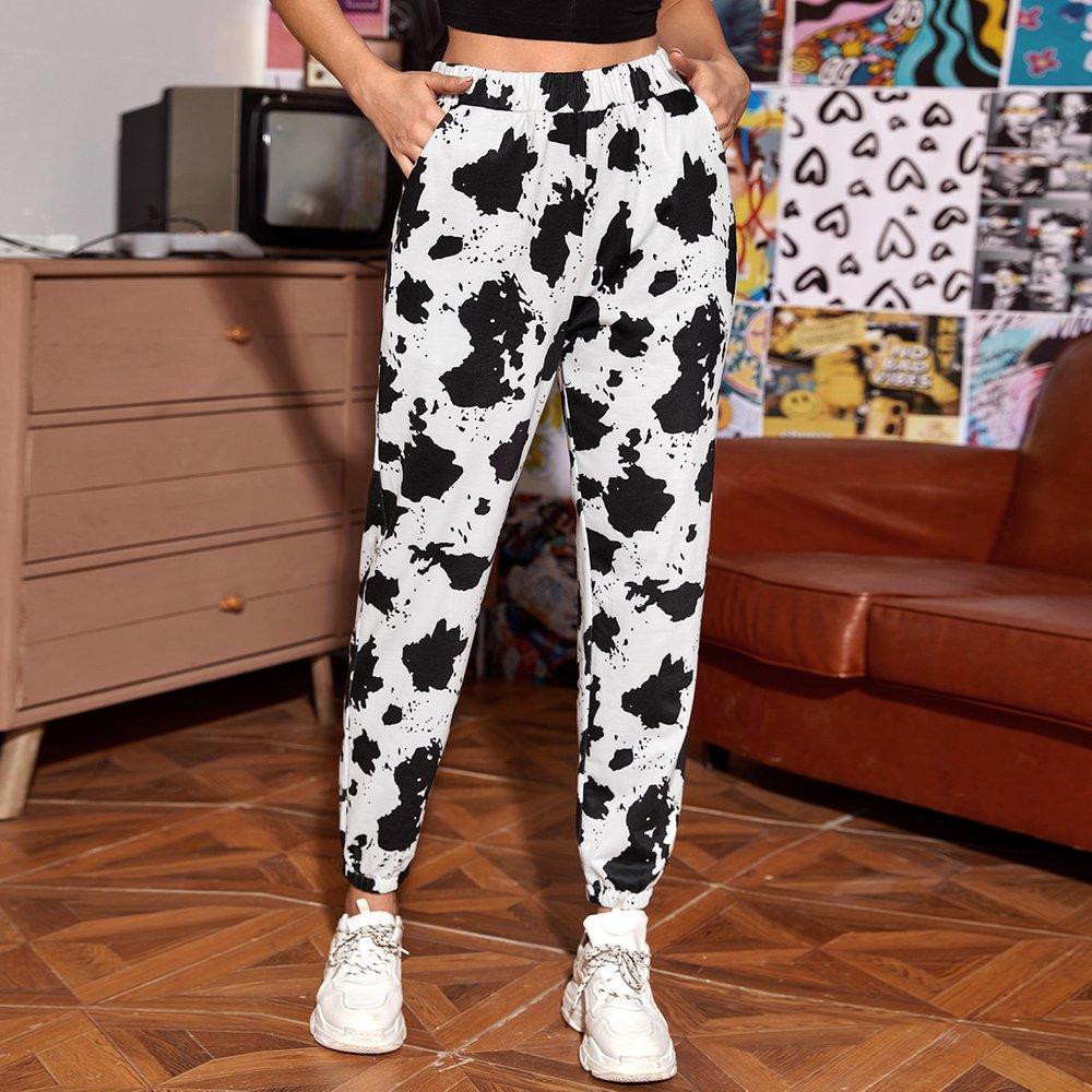 Pantalon de survêtement à motif tacheture avec poches - SHEIN - Modalova