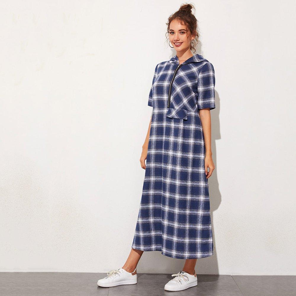 Robe à capuche zippée à carreaux - SHEIN - Modalova