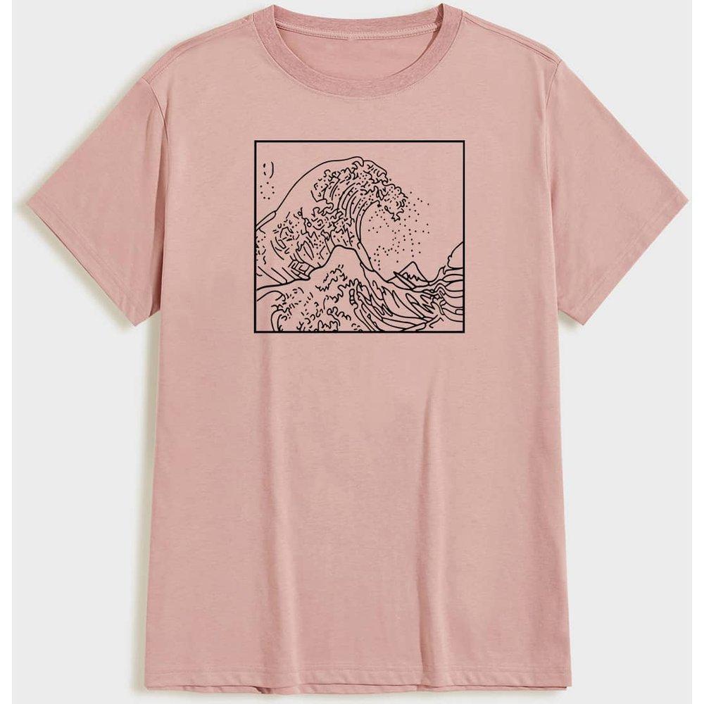 T-shirt unicolore à imprimé vague - SHEIN - Modalova
