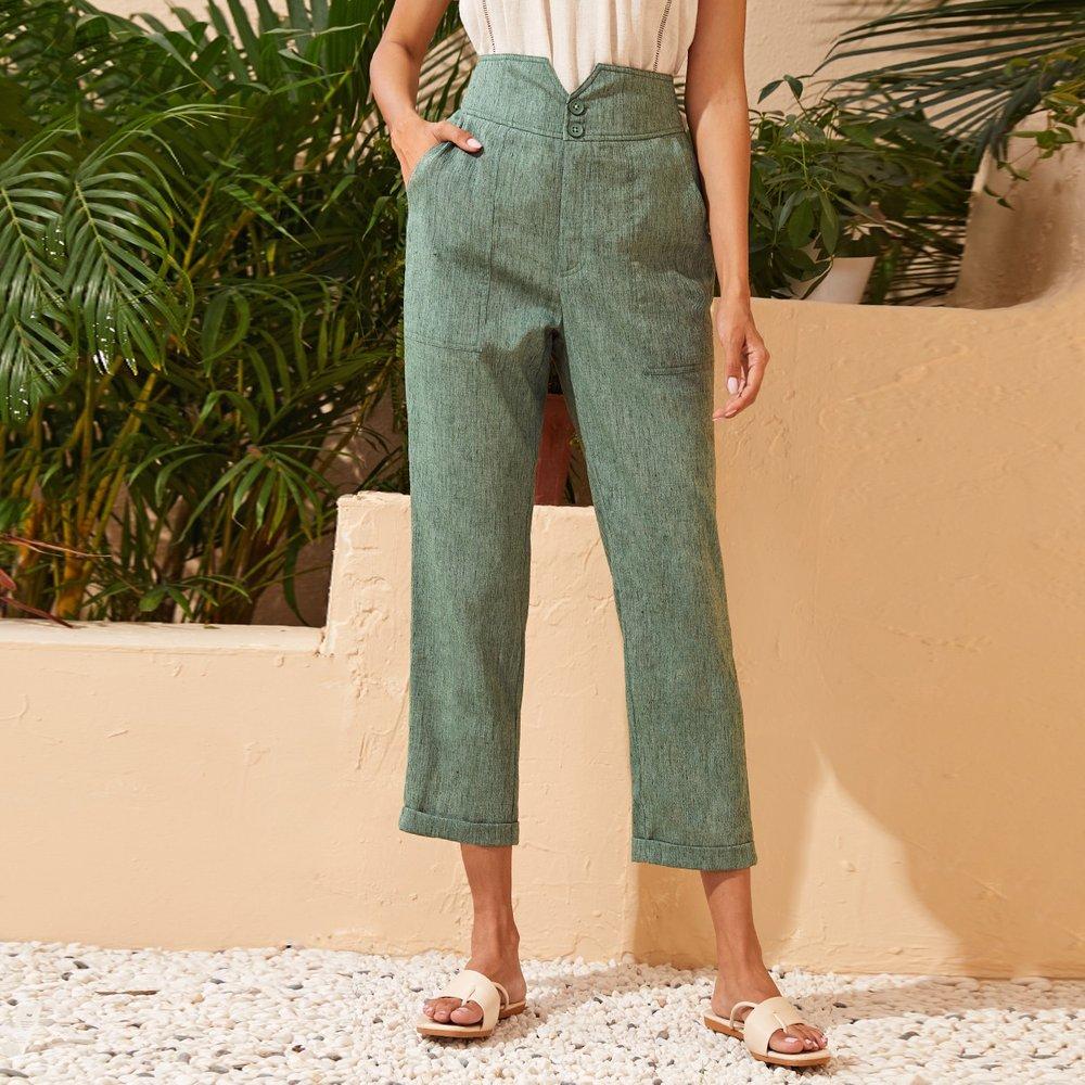 Pantalon en lin - SHEIN - Modalova