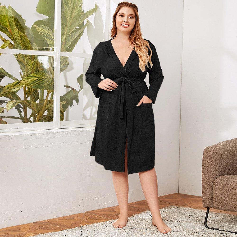 Robe de chambre à capuche ceinturée - SHEIN - Modalova