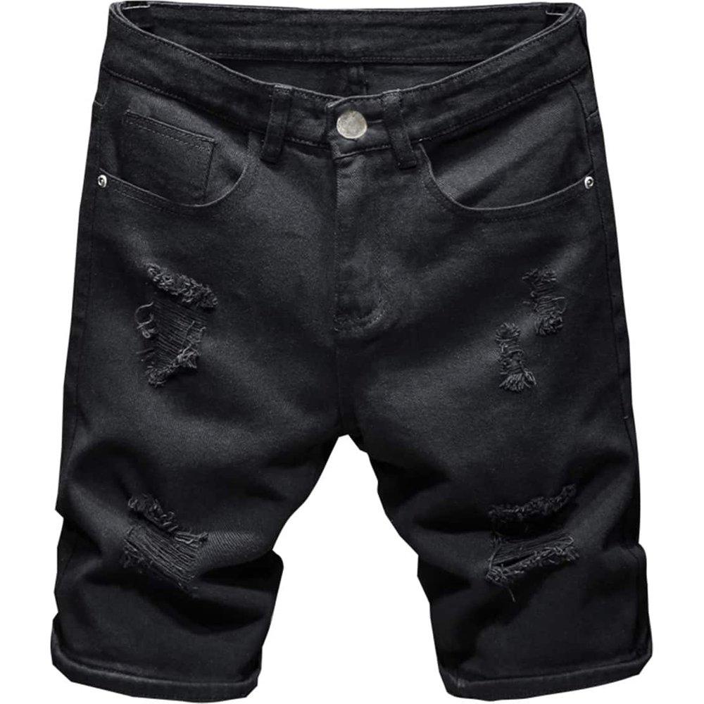 Short en jean déchiré avec poches - SHEIN - Modalova