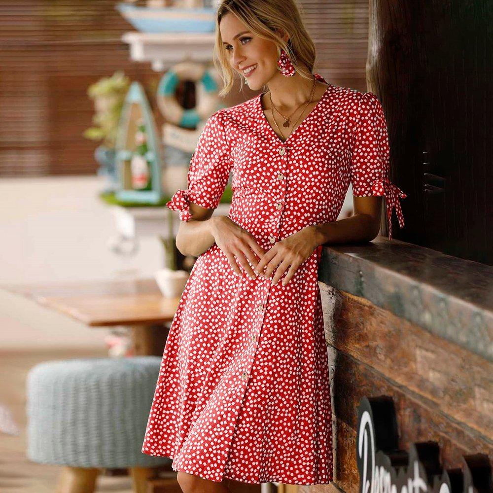 Robe trapèze fleurie avec boutons - SHEIN - Modalova