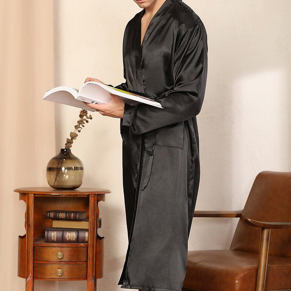 Robe de chambre ceinturée en satin unicolore - SHEIN - Modalova