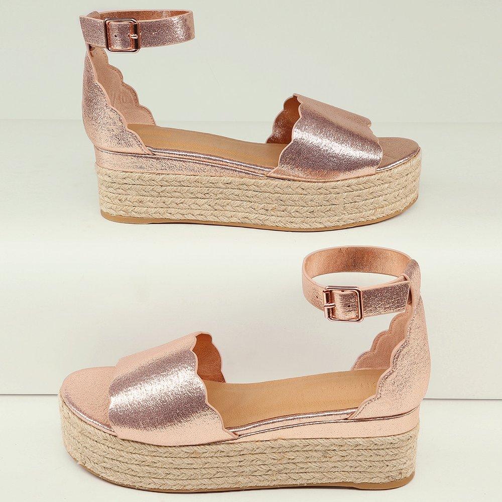 Sandales espadrilles métalliques avec bride à boucle - SHEIN - Modalova