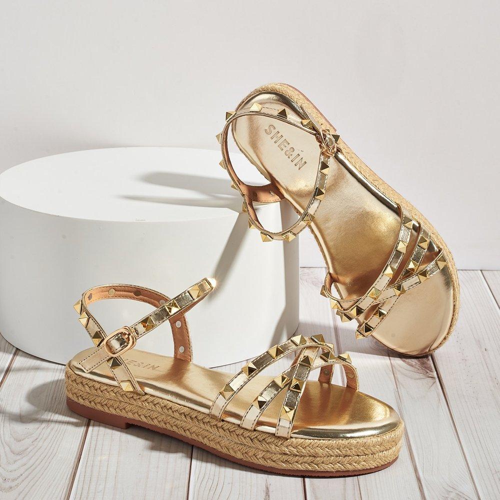 Sandales espadrilles avec rivet - SHEIN - Modalova