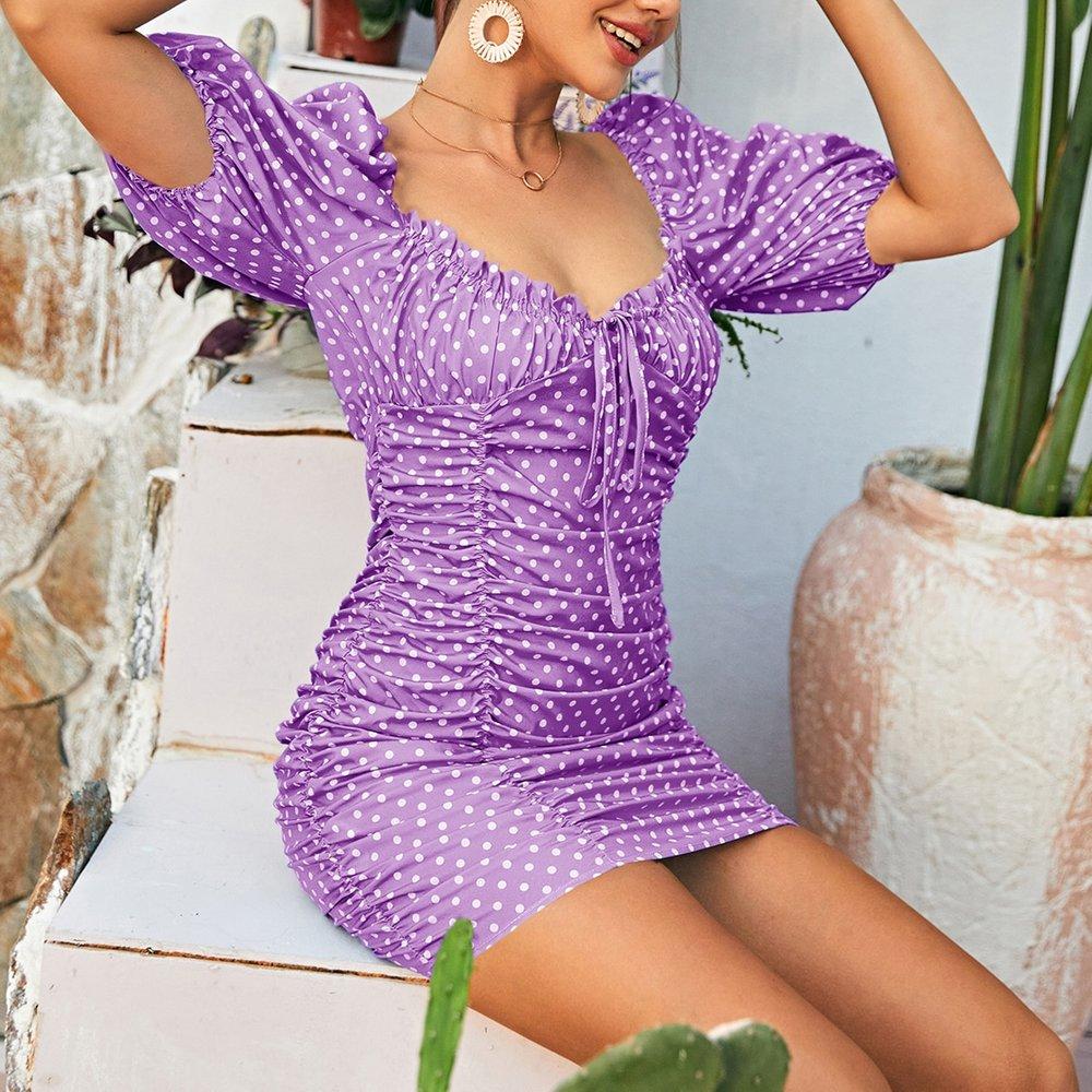 Robe style milkmaid à pois avec nœud - SHEIN - Modalova