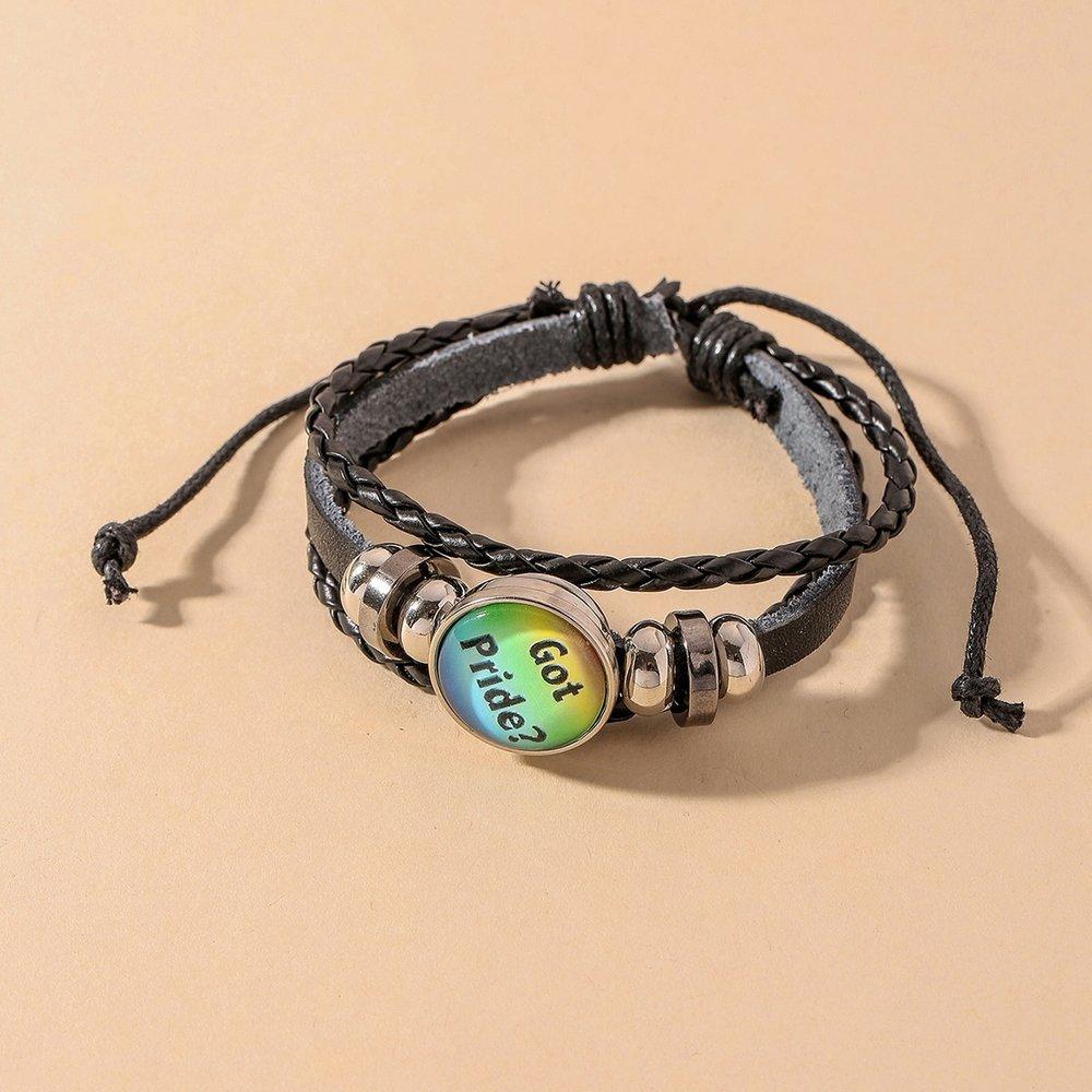 Bracelet en cuir PU avec détail slogan - SHEIN - Modalova