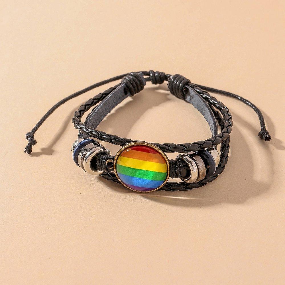 Bracelet en cuir PU à rayures arc-en-ciel - SHEIN - Modalova