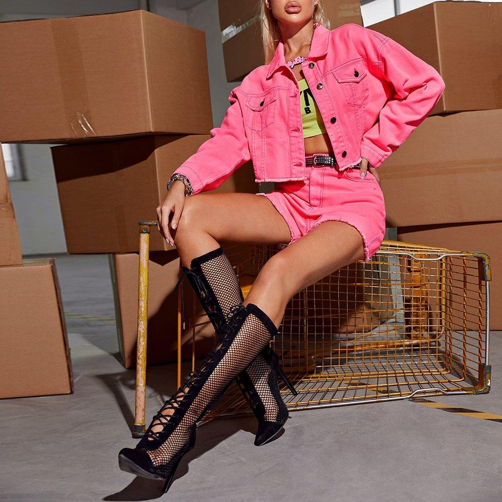 Veste en jean avec boutons - SHEIN - Modalova