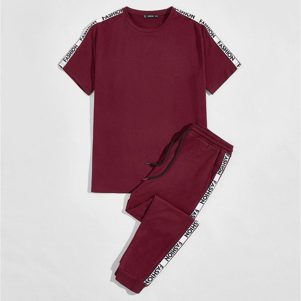 T-shirt à motif lettre & pantalon de survêtement avec cordon - SHEIN - Modalova